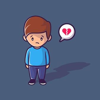 Illustration de vecteur de dessin animé de coeur solitaire et brisé garçon. concept de personnes vecteur isolé. style de bande dessinée plat