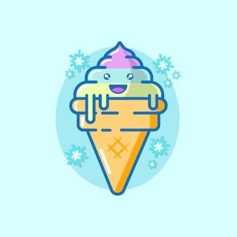 Illustration de vecteur de dessin animé de crème glacée. concept d'été vecteur premium isolé.