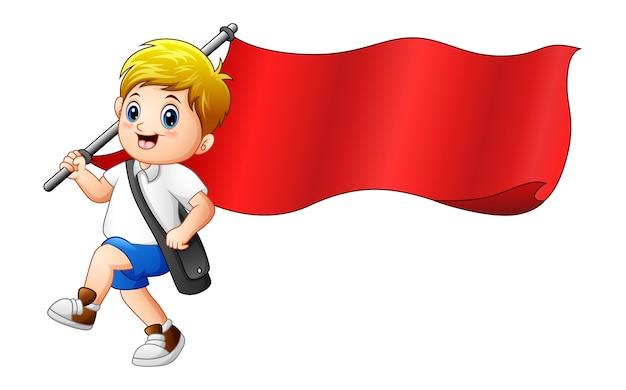 Illustration de vecteur de dessin animé garçon tenant le drapeau rouge