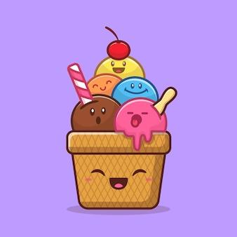 Illustration de vecteur de dessin animé heureux mignon crème glacée. concept de crème glacée alimentaire isolé. style de bande dessinée plat
