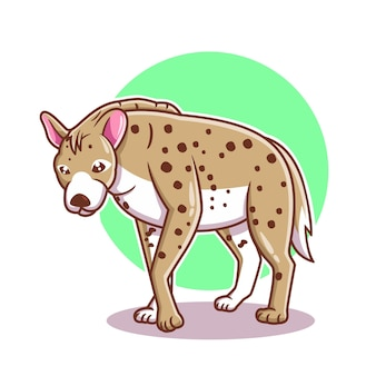 Illustration de vecteur de dessin animé hyène dessinés à la main