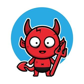 Illustration de vecteur de dessin animé mignon bébé diable halloween