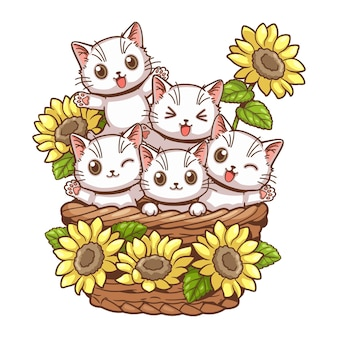 Illustration de vecteur de dessin animé mignon chat et tournesol
