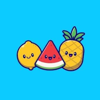 Illustration de vecteur de dessin animé mignon citron, pastèque et ananas. vecteur isolé de concept de fruits tropicaux d'été. style de bande dessinée plat
