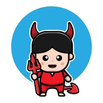 Illustration de vecteur de dessin animé mignon diable garçon halloween