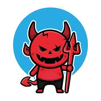 Illustration de vecteur de dessin animé mignon diable halloween