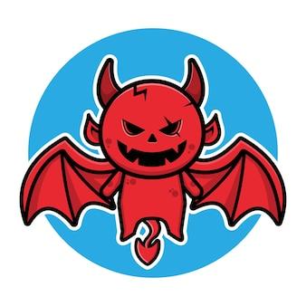 Illustration de vecteur de dessin animé mignon diable volant halloween