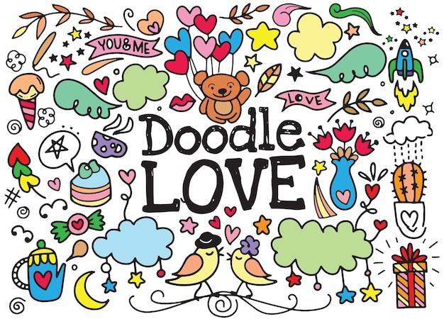 Illustration de vecteur de dessin animé mignon doodle love dessinés à la main