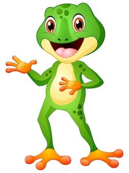 Illustration de vecteur de dessin animé mignon grenouille posant