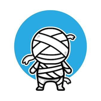 Illustration de vecteur de dessin animé mignon momie halloween