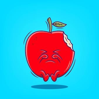 Illustration de vecteur de dessin animé mignon pomme dessinée à la main
