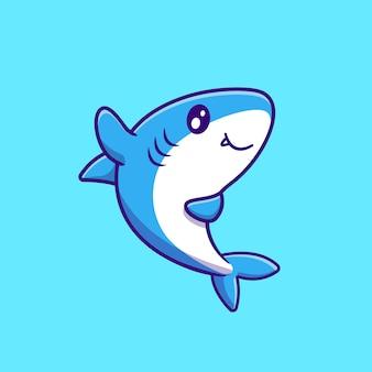 Illustration de vecteur de dessin animé mignon requin agitant la main. vecteur isolé du concept de la faune animale. style de bande dessinée plat