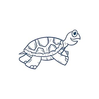 Illustration de vecteur de dessin animé mignon tortue
