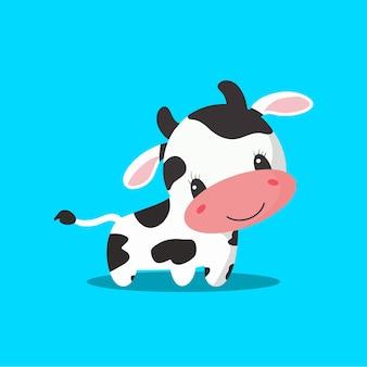 Illustration de vecteur de dessin animé mignon vache ferme