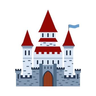 Illustration de vecteur de dessin animé plat de château de pierre de brique médiévale fantastique isolée