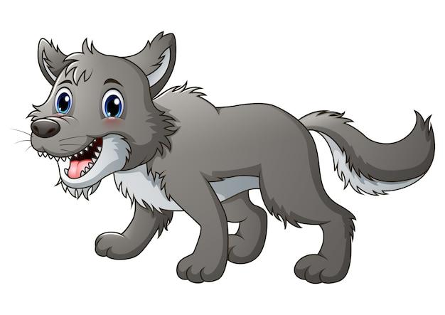 Illustration de vecteur de dessin animé de sourire loup