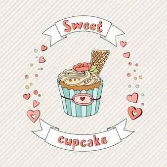 Illustration de vecteur doux cupcake