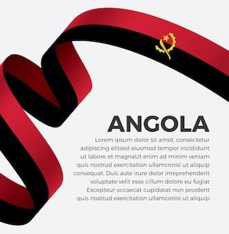 Illustration de vecteur de drapeau de ruban angola sur fond blanc vecteur premium