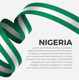 Illustration de vecteur de drapeau de ruban nigéria sur un fond blanc vecteur premium
