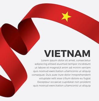 Illustration de vecteur de drapeau de ruban vietnam sur fond blanc vecteur premium