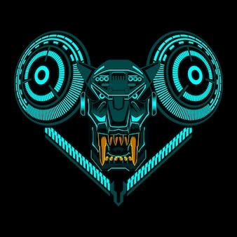 Illustration de vecteur géométrique tête de robot tigre