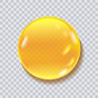 Illustration de vecteur de goutte ronde de miel isolée sur fond transparent. goutte liquide pour emballage alimentaire, design cosmétique