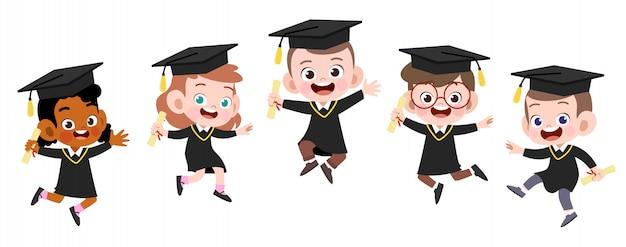 Illustration de vecteur graduation enfants heureux isolé