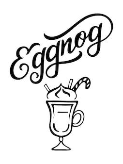 Illustration de vecteur de lettrage de main de lait de poule isolé sur blanc conception typographique de vecteur dessiné à la main