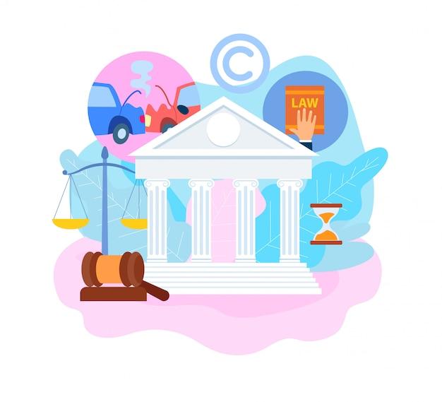 Illustration de vecteur plat d'assurance procès