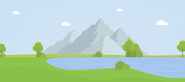 Illustration de vecteur plat belle montagne paysage