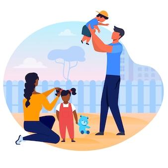 Illustration de vecteur plat jeune famille interraciale.