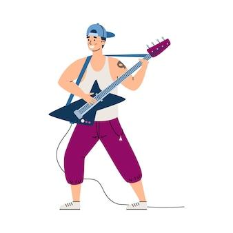 Illustration de vecteur plat de personnage de dessin animé masculin de guitariste de musique rock isolée