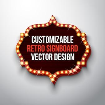 Illustration de vecteur rétro enseigne ou lightbox