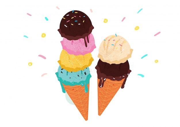 Illustration de vecteur de saveurs de glace sucrée