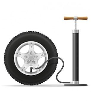 Illustration de vecteur stock voiture pompe à air main