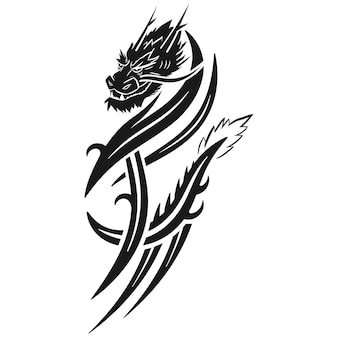 Illustration De Vecteur De Tatouage Tribal Dragon Isolé Sur Fond Blanc. Vecteur Premium