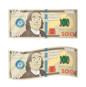 Illustration vectorielle de 100 dollars avec la bande dessinée benjamin