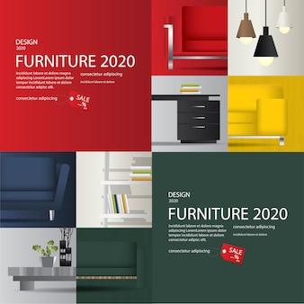 Illustration vectorielle de 2 bannière de vente de meubles de publicité flayers