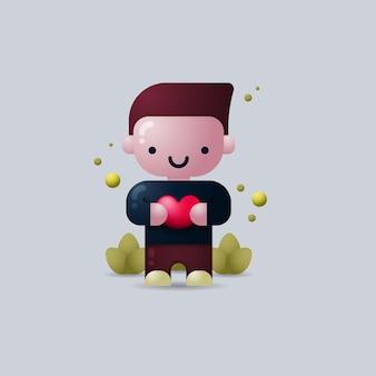 Illustration vectorielle 3d d'un homme de la saint-valentin tenant le symbole en forme de coeur
