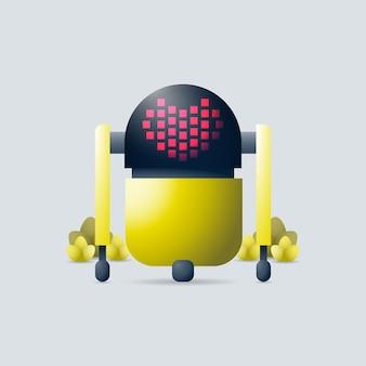 Illustration vectorielle 3d de robot volant avec symbole de forme de coeur sur l'écran