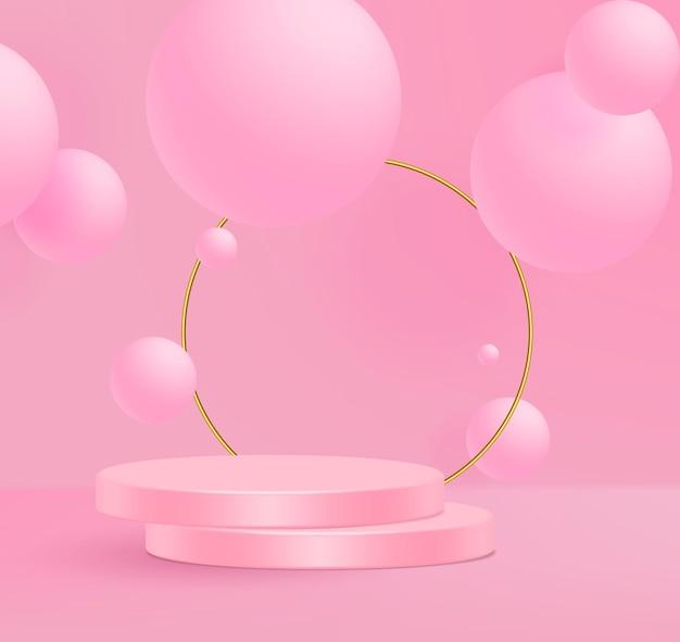 Illustration vectorielle 3d stand scène de mur rose minimal.