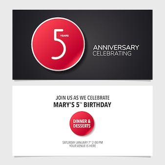 Illustration vectorielle de 5 ans anniversaire carte d'invitation.