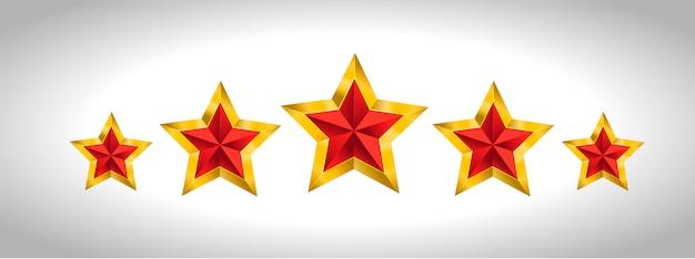 Illustration vectorielle de 5 étoiles d'or noël