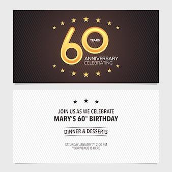 Illustration vectorielle de 60 ans anniversaire invitation