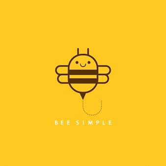Illustration vectorielle d'abeille brune dans un style géométrique linéaire. abeille simple pour la conception de cartes, t-shirt ou impression textile. carte de citation de motivation créative inspirante.