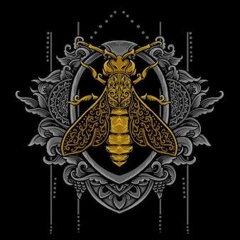 Illustration vectorielle abeille tribale avec style de gravure