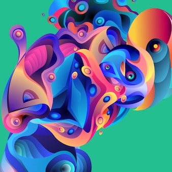 Illustration vectorielle abstrait coloré abstrait fluide