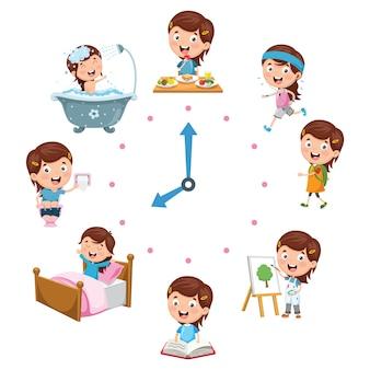 Illustration vectorielle des activités routinières quotidiennes des enfants