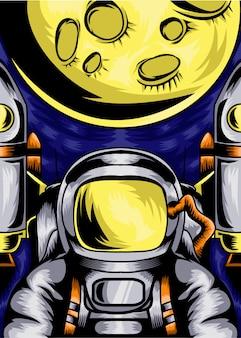 Illustration vectorielle affiche astronaute