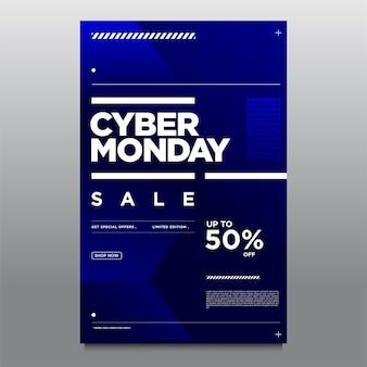 Illustration vectorielle affiche et bannière de vente cyber monday